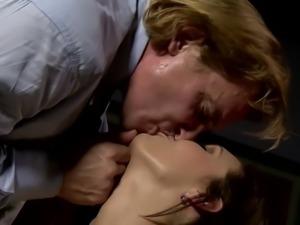 Stunning busty brunette gets to suck her boss' cock