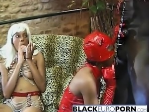 African Dominatrix Riding Black Slave Stiff Rod