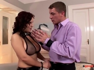 Busty Dominatrix rides a cock while her Big tits Bounce Hard