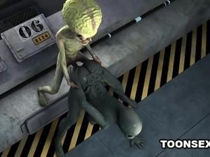 Sexy 3D cartoon alien babe fucked hard by a martian