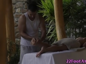 Massaged cuties feet jizz