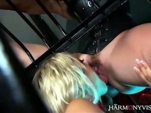 Super hot brunette bitch Bobbi Starr and her wild officer fuck blond haired...