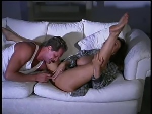 April tight anal banged doggystyle roughly on sofa