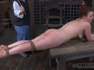 Redhead called Maggie has been naughty and her booty needs a spanking