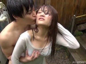 Gorgeous Japanese sex bomb knows how to make a cock sitff