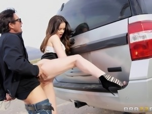 Slut Jenna J Ross spanked and boned in a car ruthlessly