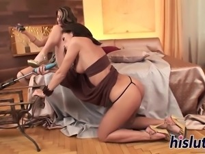 Two luscious babes have fun with toys