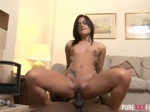 Black fuck hungry BF bangs his pretty European GF in doggy and reverse poses...