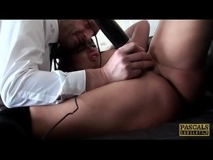 Clit pierced sub squirter gets dominated