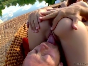 Dark haired lusty chick Alessandra Jane shares meaty big cock with red haired...