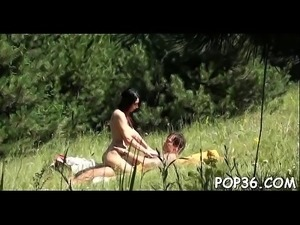 Legal age teenager has fun engulfing and riding