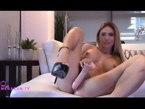 Milf Squirts from Huge Dildo and lets her massive orgasm pour out