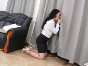 Classy model in miniskirt banging on massive dick hardcore