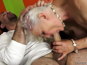 Blonde with giant hooters has fire in her eyes as she gets