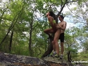 Very cute amateur girlfriend getting fucked in the woods with nerdy boyfriend...