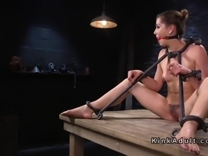 Slave in bdsm gagged and toyed