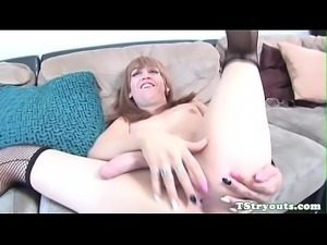Gorgeous casting trans babe jerks her cock