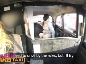 Female Fake Taxi Pretty brunette has 1st lesbian orgasm with strap-on cock