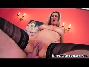 Busty granny jizz soaked