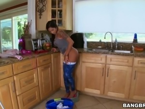 Busty latina house cleaner also polishes white dick and takes care of a man