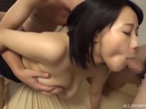 MMF threeway with an Asian babe with gigantic boobs Kaho Shibuya