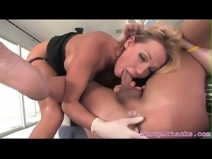 Busty domina pegs her sub and rides his cock