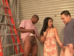 Lucky Starr is nailed by a black monster cock as her man watches