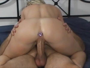 sexy plugged ass rides big cock