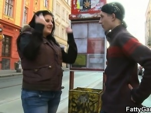 Cute plumper picks up an young stranger