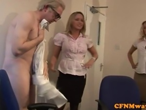 CFNM femdom blonde jerks off old dude