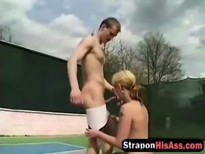Hardcore anal pegging with blonde slut