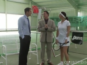Young Fresh Brunette Taking Two Cocks At The Tennis Court