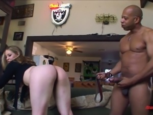 Magnificent blonde whore with big breasts blows BBC and fucks on the couch