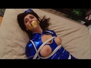 Nanuka Gurgenidze tied up in stewardess uniform and stocking