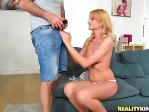 Blonde goddess Chucky shows her slutty side to hard cocked bang buddy James...