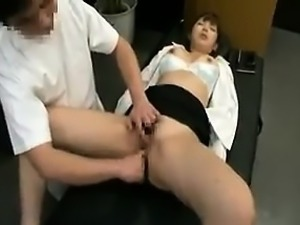 Slender Oriental babe loses her panties and gets pounded by