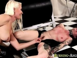 Tied slut licks domina