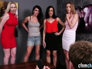 Clothed babes suck dick