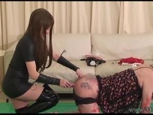 Japanese Mistress LUM Fucking Slave with Strapon Dildo