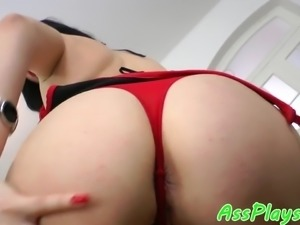 European babe butt fucked on all fours
