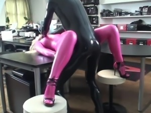 Pink Latex Catsuit Vaginal Condom Fuck