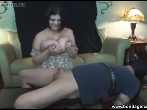 Huge natural breasts bondage handjob