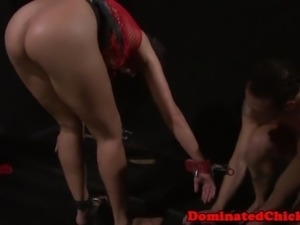 Smalltits sub beauty dominated in dungeon