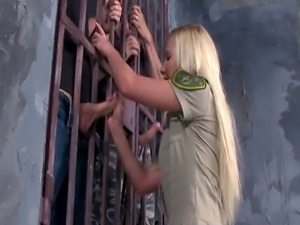 Pretty prison guard DP banged by inmates