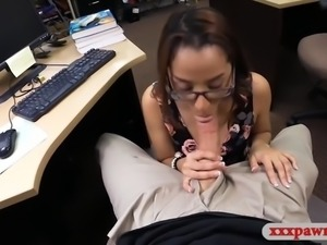 Amateur brunette coed with glasses pounded by pawn man