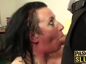 Tattooed BBW fat ass milf slut gets her meat holes stuffed