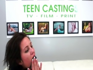 Roughly fucked teen tastes cum at casting