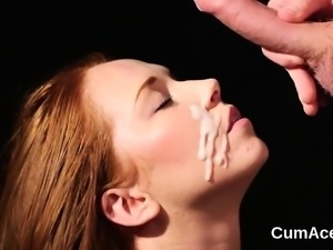 Sexy stunner gets sperm load on her face gulping all the cum