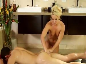 Cum covered cute masseuse