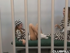 Horny lesbian chick Samantha Hayes finds time for sex even in the prison